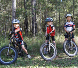 Fraser Madeleine and Iggy on Carbonxs kids bikes Wooroi State Forest